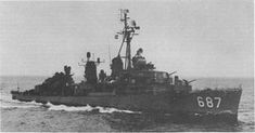 "USS Uhlmann (DD-687) as a ""four-gun Fletcher."""
