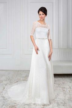 9bf523167fd4 Luxusné čipkované svadobné šaty áčkového strihu na predaj. Elegantné svadobné  šaty zdobené opaskom s dlhou vlečkou