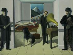 El Asesino Amenazado - Se visualiza el cuerpo de una mujer carente de vida en un sillón, mientras que el autor del crimen disfruta de alguna melodía en el gramófono, preparándose para salir de la habitación. La presencia de dos hombres parecidos, con una red y un garrote, respectivamente, planean una emboscada. En el centro, los rostros de tres hombres que están viendo como se desenvuelve toda la escena y que ademas dan una sensación de que igual están viéndonos a nosotros los espectadores.