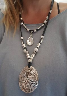 double beaded woman leather necklace pendant necklace