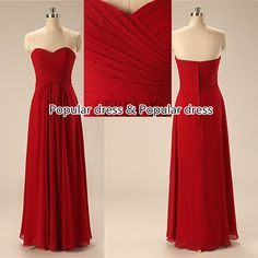 Red Sweetheart Chiffon Long Bridesmaid Dress/Red by populardress