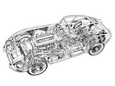 Cutaway, Jaguar Type, Jaguar Cars, Jaguar Xk, Royce Car, Cafe Sign, Best Muscle Cars, E Type, Car Drawings