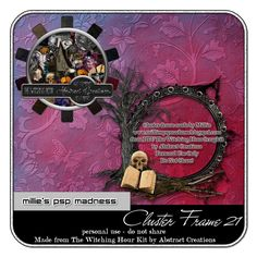 Millie's PSP Madness: FTU Cluster Frame 21 and tags featuring Keith Garvey and Abstract Creations
