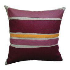 Felt Appliqué Linen Pillow - Color Block, Burgandy/Spice, 16x16