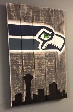 Hand painted pallet sign  Seattle Seahawks Skyline by LazyBeagle