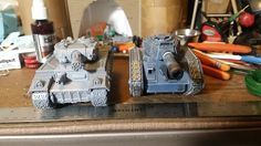 Mass Robot Miniatures space tiger Gideon tank size comparison with Leman Russ.