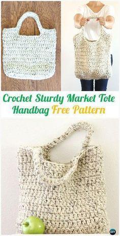 Crochet Sturdy Market Tote Handbag Free Pattern - #Crochet Handbag Free Patterns #crochethandbags