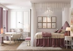"""Start a new project in the residential complex """"festival."""" The area of the apartment of 180 square meters. Pink Bedroom Decor, Room Design Bedroom, Girl Bedroom Designs, Dream Bedroom, Living Room Designs, Luxury Bedroom Sets, Luxurious Bedrooms, Residential Complex, Minimalist Home"""