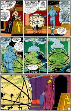 Excellent page with dialogue between Dr. Manhattan and Ozymandias from DC's Watchman comic, by Alan Moore and Dave Gibbons.
