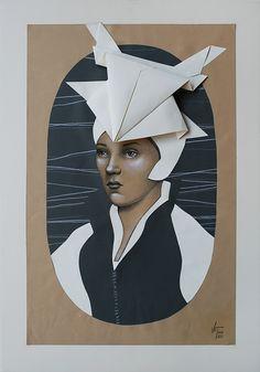 Vania Elelettra Tam - Origami Clitoridei - rana - 2016 - 70x50 cm - tecnica mista su carta incollata su tela