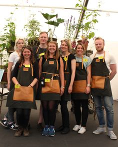 The 2014 GROW London team in their bespoke Traditional English Apron Company aprons Leather Chain, Hermes Birkin, Chanel Boy Bag, Aprons, Bespoke, Leather Handbags, Saint Laurent, Stamps, Design Inspiration