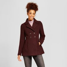 Women's Wool Coat with Back Pleats - Xhilaration Burgundy Tweed Xxl
