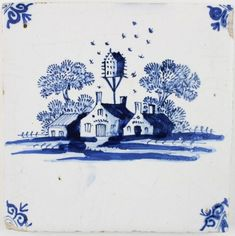 Antique Delft tile in blue with a village and a dovecote, 17th century | Regts - Antique Tiles
