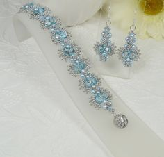 Woven Bracelet and Earrings Set Silver Blue Lace by IndulgedGirl