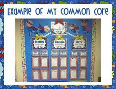 """Kindergarten Common Core """"I can"""" statements and Superhero Poster Display! Kindergarten Focus Walls, Superhero Kindergarten, Superhero School, Superhero Poster, Superhero Classroom, Kindergarten Reading, Classroom Themes, Classroom Organization, Classroom Environment"""