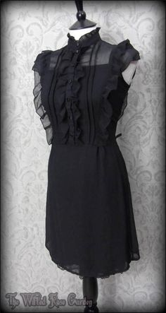 Victorian Gothic Black Ruffle High Collar Dress 10 Elegant Vintage Victoriana | THE WILTED ROSE GARDEN