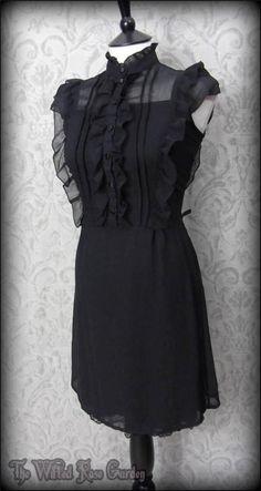 Victorian Gothic Black Ruffle High Collar Dress 10 Elegant Vintage Victoriana | THE WILTED ROSE GARDEN
