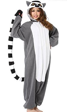 Lifeye Unisex Adult Lemur Pajamas Animal Cosplay Costume Gray e1015db38