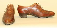1918-1922, America or Europe - Leather golfing shoes