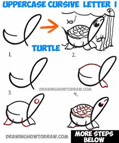 How to Draw Cartoon Underwater Turtle with Uppercase Cursive Letter I - Tutorial for Kids