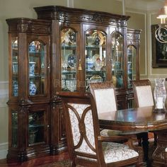 Aico Villagio China & Buffet w/ Piers - Rustic Dining Room Sets, Dining Room Furniture Sets, Fine Furniture, Dining Set, Furniture Design, Classic Furniture, Dining Rooms, Furniture Ideas, Dining Buffet