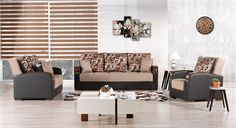 Mobimax Sofa Set in Brown by Casamode