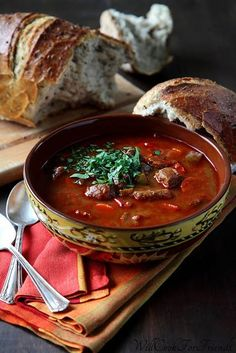 Hungarian Goulash Soup. We tried this in Budapest and this recipe seems quite similar, I'll try it in the slow cooker.