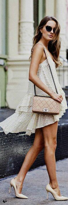 Street Style-mesh strap dress