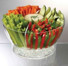 Serve vegetable appetizers in a bowl with ice in the bottom. See more vegetable appetizer and party ideas at one-stop-party-ideas.com
