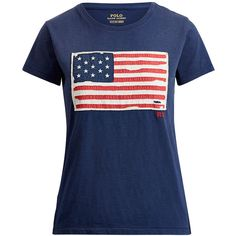Polo Ralph Lauren Flag Cotton Tee ($55) ❤ liked on Polyvore featuring tops, t-shirts, ralph lauren t shirts, cotton t shirts, distressed tee, short sleeve t shirt and crew neck tee
