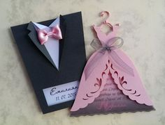 "Bridal Wedding Invitations ""Bride and Groom"", Tuxedo Invitation, Bridal Gown…"
