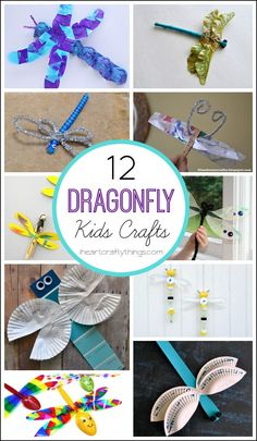 12 Dragonfly Crafts for Kids featured on iheartcraftythings.com.