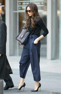 .wide leg navy trousers, black heels