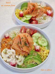 Salmon Recipes 82890 Bowl with smoked salmon: Diet & Delights - Diet Recipes Healthy Diet Snacks, Healthy Salmon Recipes, Lunch Snacks, Raw Food Recipes, Diet Recipes, Salmon Diet, Smoking Recipes, No Cook Meals, Entrees