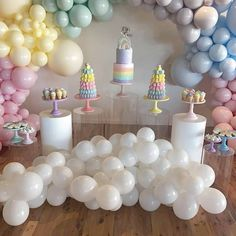 KLOE turns 1 Gorgeous setup styled by her mum all the way in Sheparton. What a a gorgeous event, Featuring our Pastel Coloured Cake stands, All the colours of the rainbow Balloons Plinths Barbie Theme Party, Barbie Birthday Party, Rainbow Birthday, Birthday Parties, First Birthday Theme Girl, Balloons Galore, Pastel Balloons, Baby Shower Princess, Rainbow Pastel