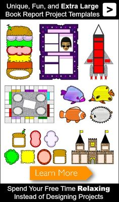 Book Report Templates: Extra large, fun, and creative book report projects. Kindergarten Reading, Teaching Reading, 5th Grade Books, Grade 2, Book Report Projects, Reading Projects, Book Report Templates, Dolch Sight Words, Art Therapy Activities