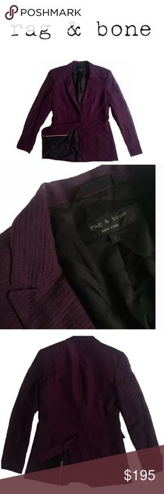 Rag & Bone Blazer Great Quality. Great Condition. No Rips. No Stains. Material Combo (back): 100% Silk Cashmere. Material Shell: 70% cotton 18% Polyamide 12% Elastane rag & bone Jackets & Coats Blazers