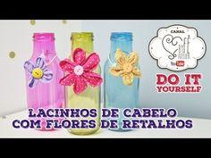 DIY::: Lacinhos de Cabelo com Flores de Retalho - YouTube