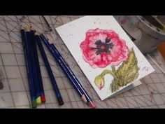 The Frugal Crafter Watercolor Tutorials on YouTube - Poppy Using Inktense Watercolor Pencils Watercolor Video, Watercolour Tutorials, Watercolor Flowers, Watercolor Paintings, Watercolor Pencils, Painting Flowers, Inktense Blocks, Derwent Inktense, The Frugal Crafter