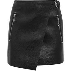 Étoile Isabel Marant Kakili textured-leather mini wrap skirt (€540) ❤ liked on Polyvore featuring skirts, mini skirts, saias, tartan plaid skirt, plaid miniskirts, punk mini skirt, short skirts and short plaid mini skirt