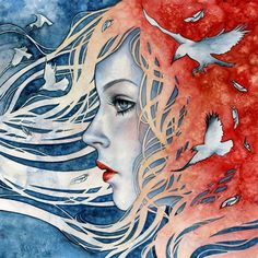 Reverie - Thumbnail 1. Would be a good new media idea. Special paste with watercolor into hair.