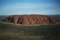 Australia, Northern Territory, Aerial Ayers Rock in the Desert
