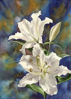 """White lilies watercolor on paper, 20""""x28"""" - Alfred Ng"""