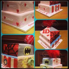 Joint birthday cake for our lovely daughter and her best friend 1direction and marvel superheroes xx