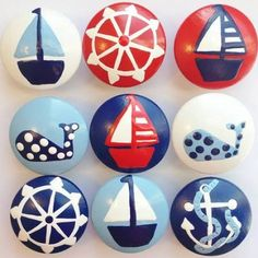 Hand Painted Nautical Drawer Knobs Choose from a variety of colors and designs Use on your dresser drawers closet doors and as decorative Nautical Drawer Knobs, Nautical Dresser, Nautical Drawers, Nautical Nursery, Rock Painting Patterns, Rock Painting Ideas Easy, Rock Painting Designs, Stone Crafts, Rock Crafts