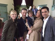 "Kelli, Peter, ""Noah,"" Mariska, and Danny - on set"