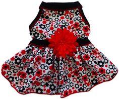 Black Red Daisy Print Dress
