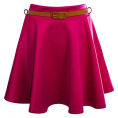 Taylor Fuchsia Belted Jersey Skater Skirt ($26) ❤ liked on Polyvore featuring skirts, saias, falda, purple skater skirt, purple skirt, circle skirts, fuchsia skirts and flared skirt