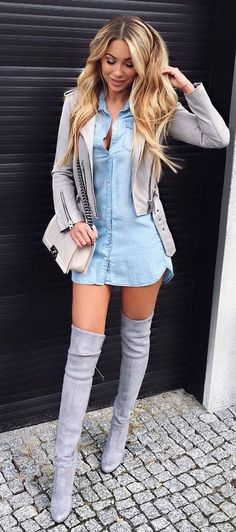 amazing fall outfit over the knee boots + denim dress + bag + moto jacket