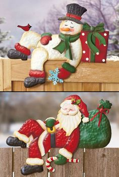 Holiday Fence Topper IN HAND Winter Christmas Snowman Santa Outdoor Yard Decor #Unbranded